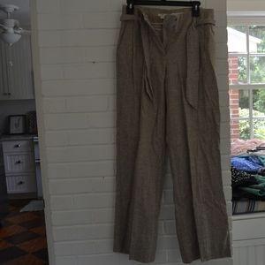Brown Linen Pants w/Belt